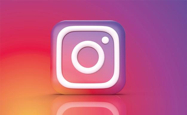 Instagram backgraund 3d render, логотип в социальных сетях