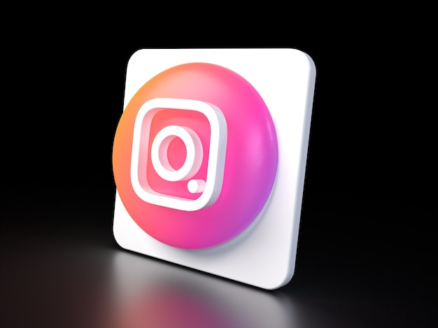 Instagram circle button icon 3d premium photo 3d glossy matte rendering