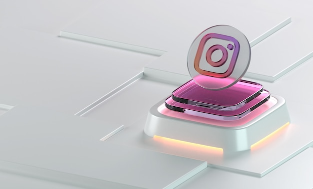 Instagram 유리 기하학 모양 3d 아이콘 렌더링