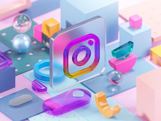 Instagram glass geometry shapes abstract composition art 3d rendering