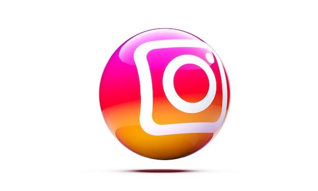 3d 영역에서 instagram 아이콘 격리 된 3d 렌더링