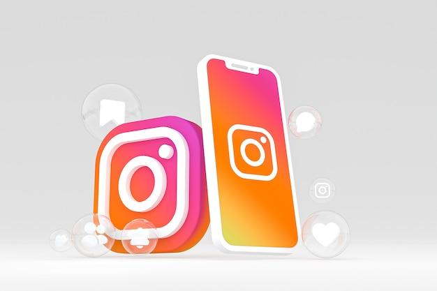 Значок instagram на экране мобильного телефона 3d визуализации