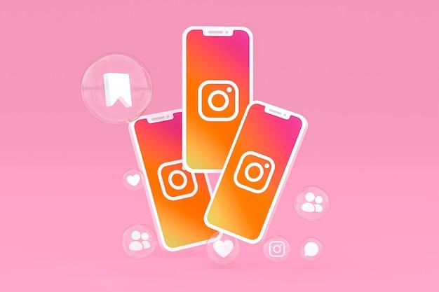 Значок instagram на экране мобильных телефонов 3d визуализации Premium Фотографии