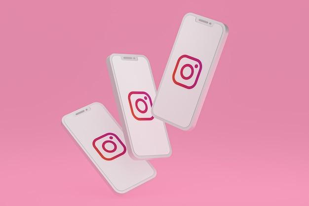 Значок instagram на экране мобильных телефонов 3d визуализации