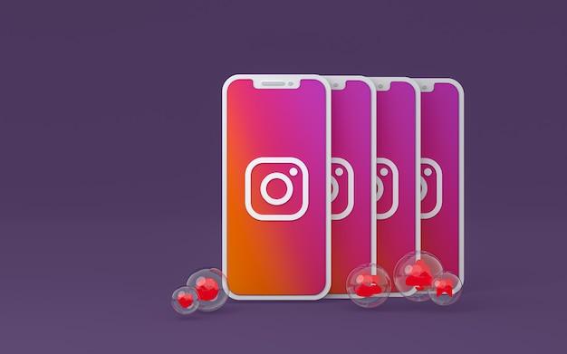 Значок instagram на экране смартфона или мобильного телефона, 3d визуализация