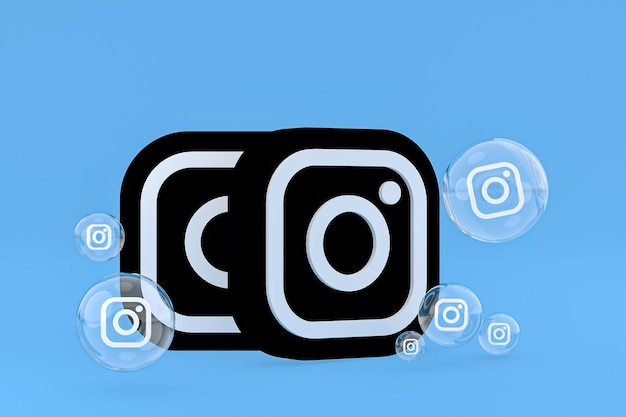 Значок instagram на экране смартфона или мобильного телефона, а реакции instagram любят 3d-рендеринг на синем фоне