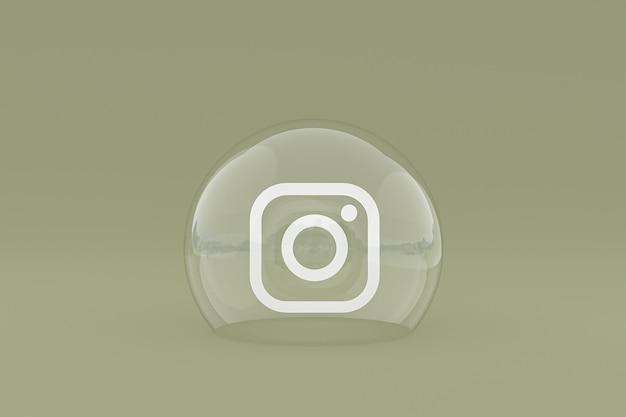 Значок instagram на экране смартфона или мобильного телефона, а реакции instagram любят 3d-рендеринг на зеленом фоне