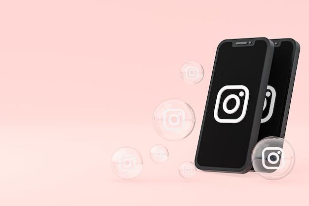 Значок instagram на экране смартфона или мобильного телефона, а реакции instagram любят 3d-рендеринг на розовом фоне