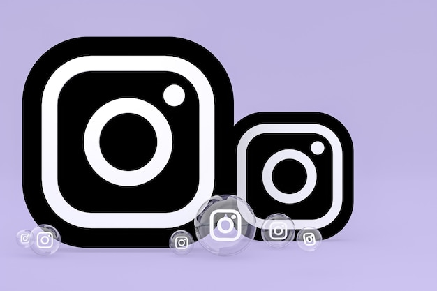 Значок instagram на экране смартфона или мобильного телефона, а реакции instagram любят 3d-рендеринг на фиолетовом фоне