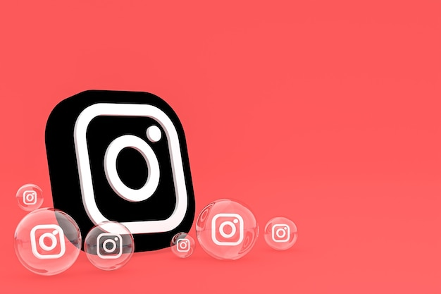 Значок instagram на экране смартфона или мобильного телефона, а реакции instagram любят 3d-рендеринг на красном фоне