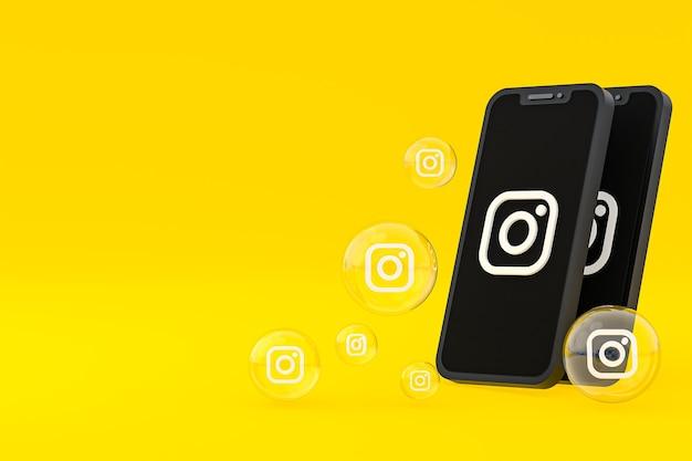 Значок instagram на экране смартфона или мобильного телефона, а реакции instagram любят 3d-рендеринг на желтом фоне