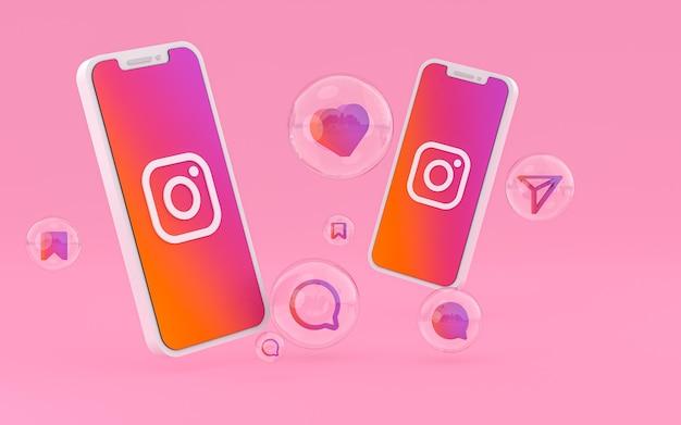 画面のスマートフォンまたはモバイル上の instagram アイコンと instagram の反応は、3 d レンダリングが大好き