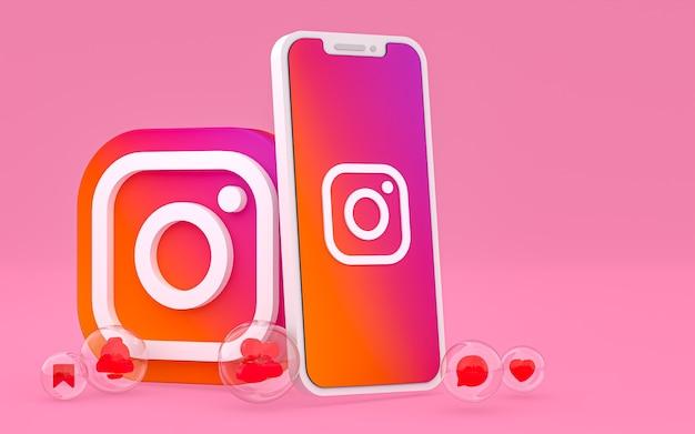 Значок instagram на экране смартфона или мобильного телефона, а реакции instagram любят 3d-рендеринг