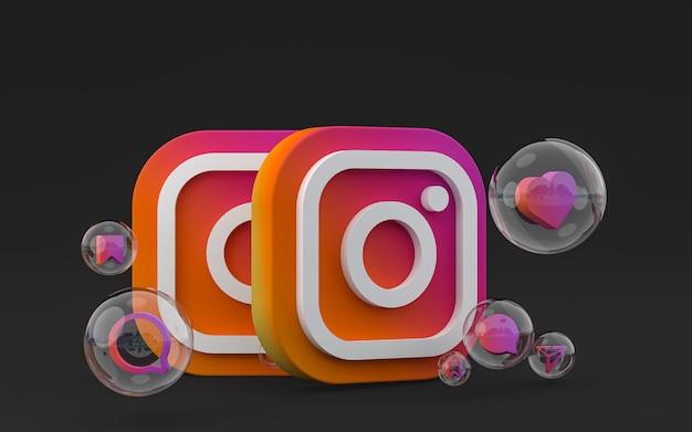 Значок instagram на экране смартфона или мобильного телефона и реакция instagram любят рендеринг