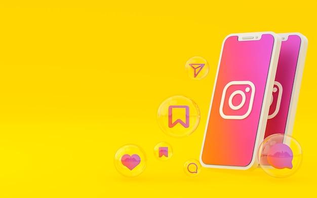 화면 스마트 폰 또는 모바일 및 instagram 반응의 instagram 아이콘은 렌더링을 좋아합니다.