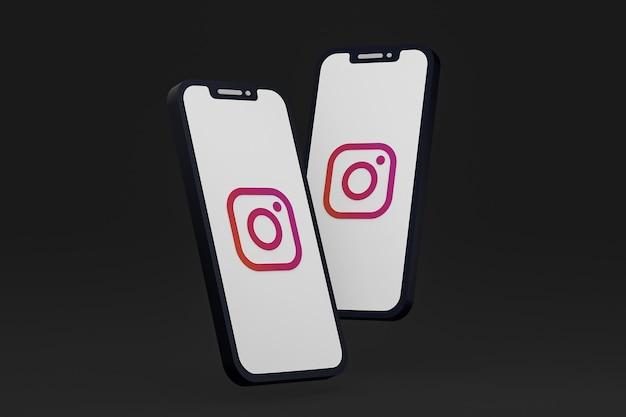 画面のスマートフォンまたは携帯電話の 3 d レンダリング上の instagram アイコン
