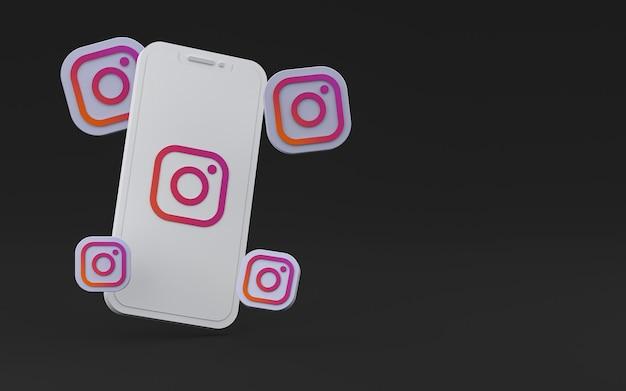 화면 스마트 폰 또는 휴대 전화 3d 렌더링에 instagram 아이콘