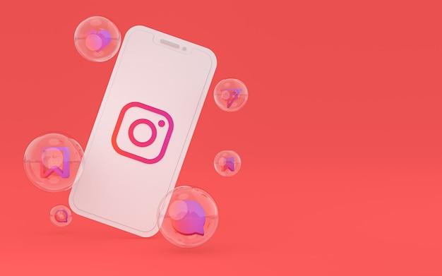 화면 스마트폰 또는 휴대 전화 3d 렌더링에 instagram 아이콘