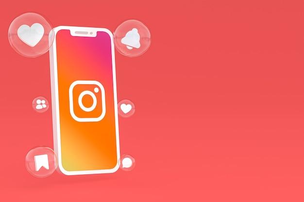 Значок instagram на экране смартфона или мобильного телефона 3d визуализации
