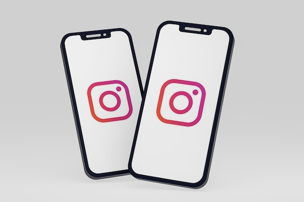 Instagram icon on screen smartphone or mobile phone 3d render