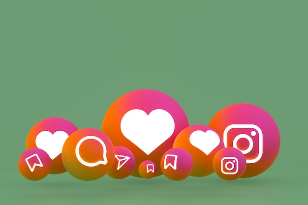 Instagram icon set 3d rendering on green background
