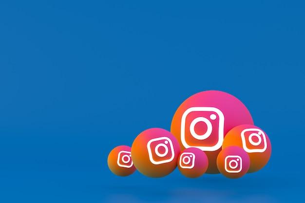 Значок instagram установил 3d-рендеринг на синем фоне
