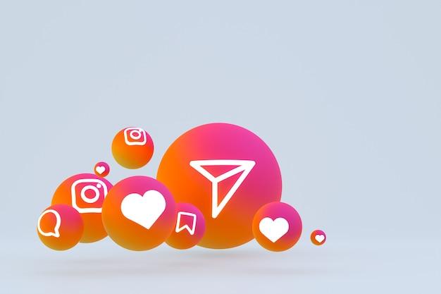 Значок instagram установил 3d-рендеринг на сером фоне