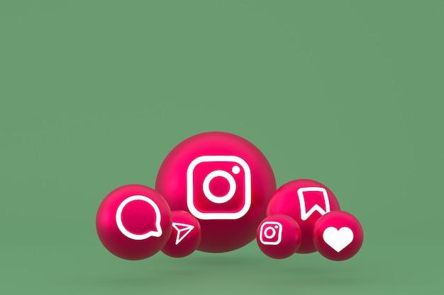 Значок instagram установил 3d-рендеринг на зеленом фоне