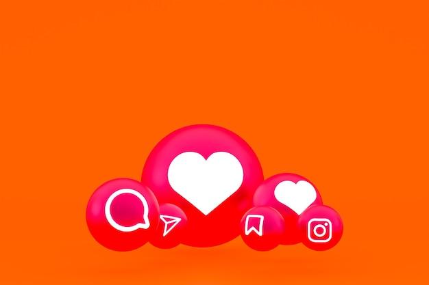 Значок instagram установил 3d-рендеринг на оранжевом фоне