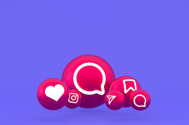 Значок instagram установил 3d-рендеринг на фиолетовом фоне
