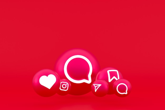 Значок instagram установил 3d-рендеринг на красном фоне