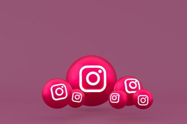 Значок instagram установил 3d-рендеринг на красном фоне Premium Фотографии