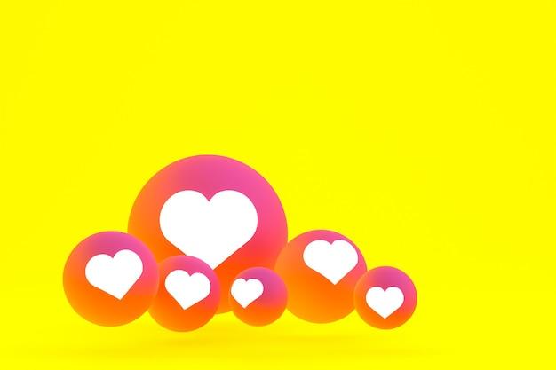 Значок instagram установил 3d-рендеринг на желтом фоне