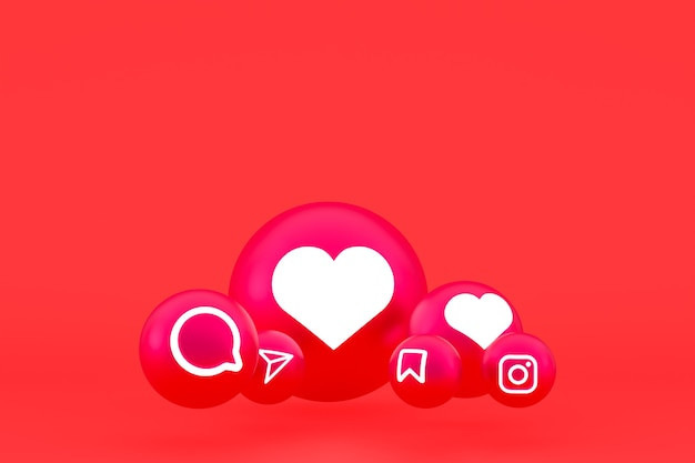 Instagram icon set 3d rendering on red background
