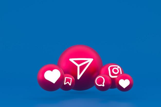 Рендеринг набора иконок instagram на синем фоне