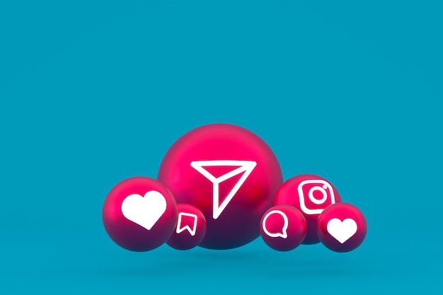 Рендеринг набора значков instagram на синем