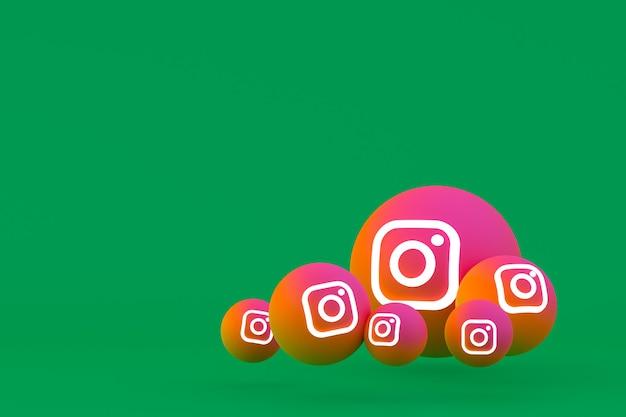 Рендеринг набора иконок instagram на зеленом фоне