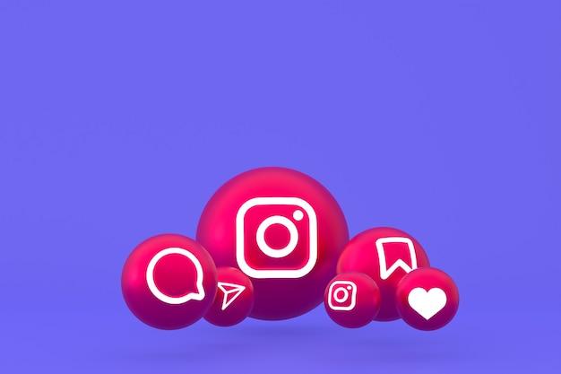 Рендеринг набора значков instagram на фиолетовом фоне