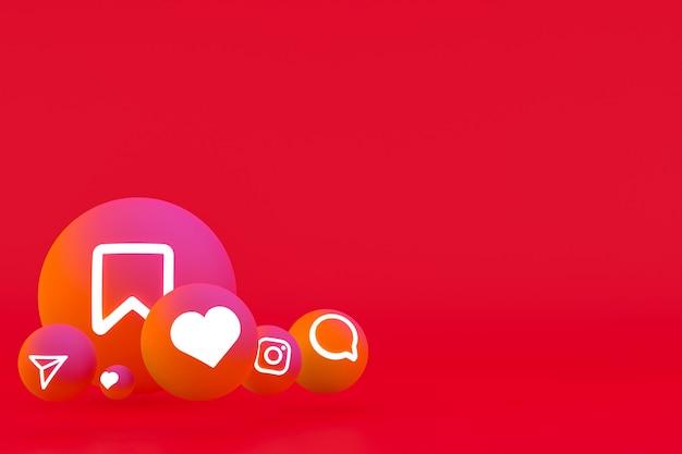 Рендеринг набора значков instagram на красном фоне