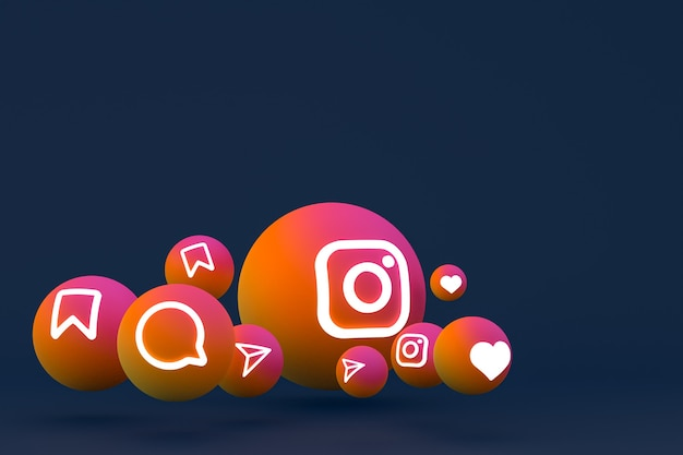 Значок instagram установлен на синем