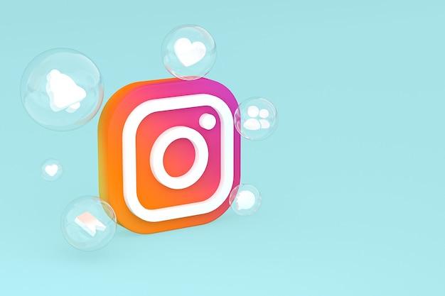 Значок instagram с 3d-рендерингом emojis
