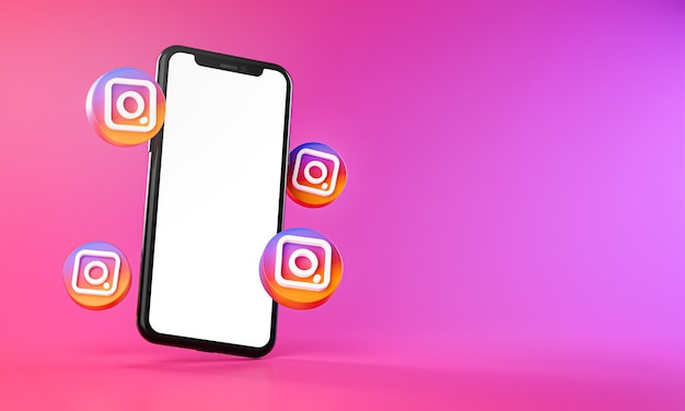 Instagram icons around smartphone app 3d rendering