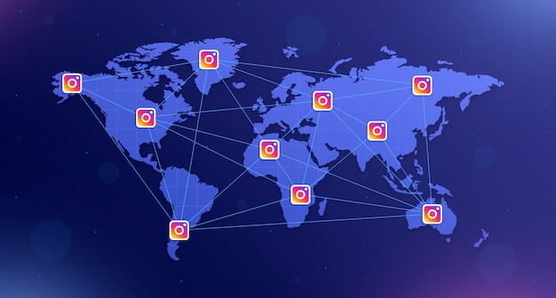 Instagram icons on the world map on all continents interconnected on blue background with glare 3d