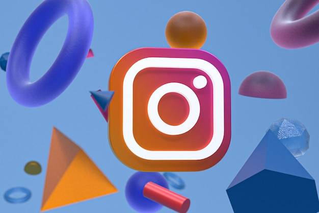 Instagram ig logo on abstract geometry background