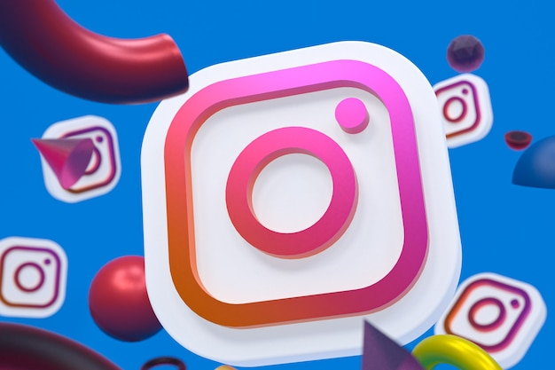 Логотип instagram ig на абстрактном геометрическом фоне