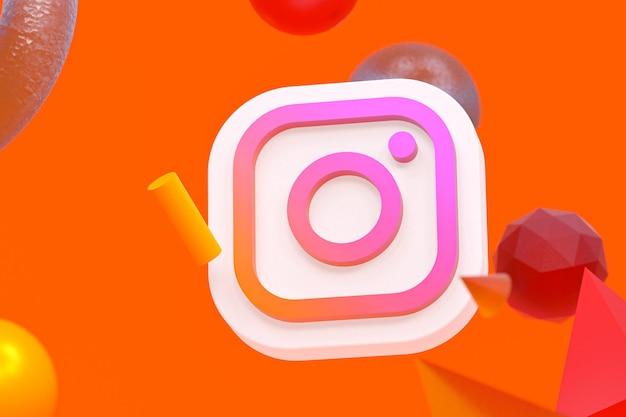 Логотип instagram ig на фоне абстрактной геометрии