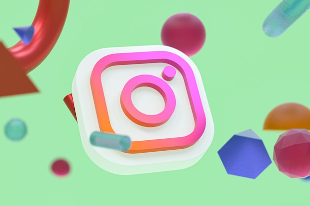 추상적 인 기하학 배경에 instagram ig 로고