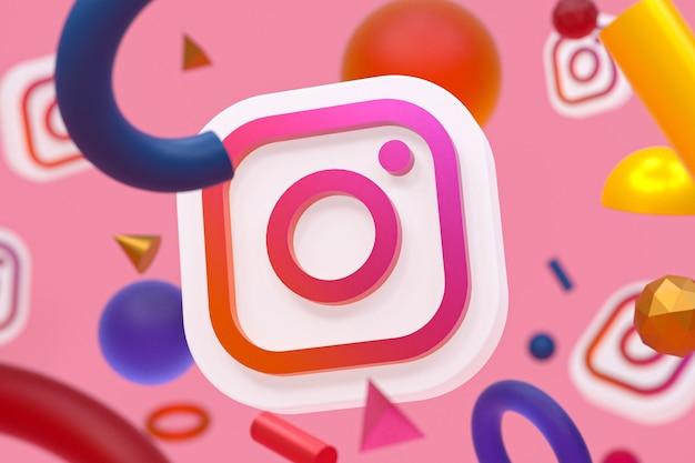 Логотип instagram ig на абстрактной геометрии