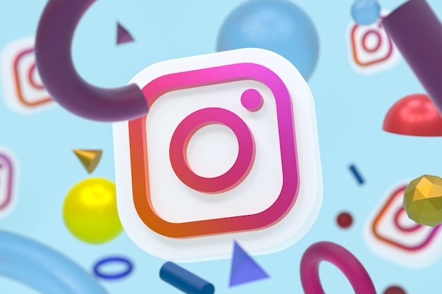 Логотип instagram ig с элементами геометрии