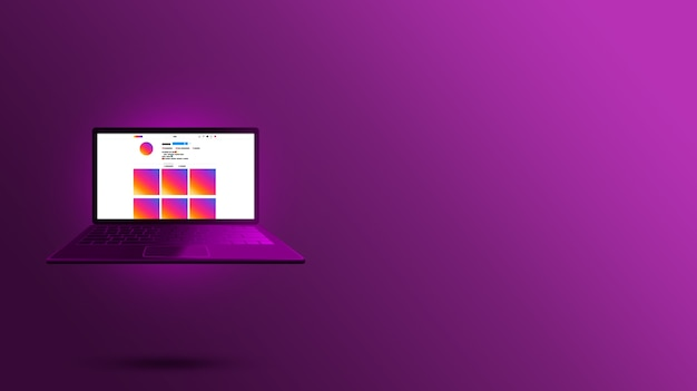 紫色のノートパソコンの画面デザインのinstagramインターフェイス
